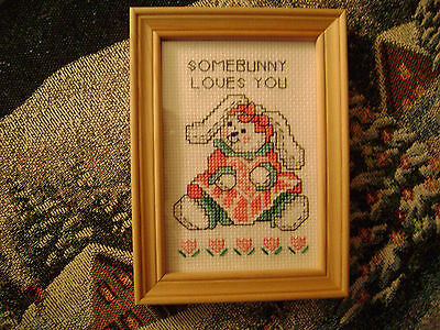 FRAMED NEEDLEPOINT PICTURE  WALL HANGING DECOR  BUNNY RABBIT