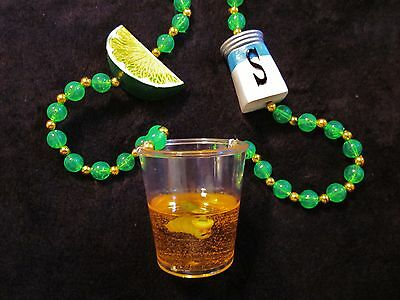 Mexican worm In Tequila Shot Glass Mg Bead Salt Shaker Lime Buffett (b749)