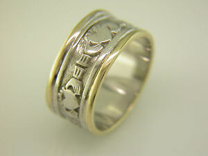 Gents-14k-Gold-and-White-Gold-Irish-Handcrafted-Celtic-Claddagh-Wedding-Ring