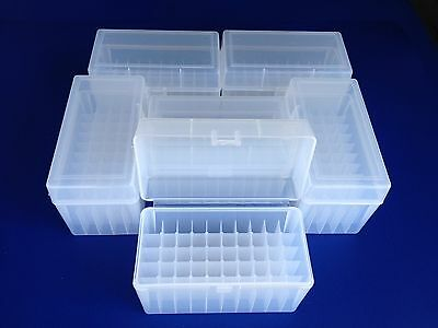 6 pack of 50 round plastic ammo boxes, LR-50 Large Rifle, 270, 25-06, 30-06