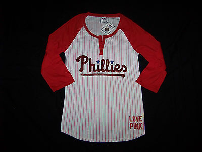 Victoria's Secret Pink Philadelphia Phillies Raglan 3/4 Sleeve T-shirt Bling