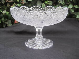 VINTAGE-BOHEMIA-QUEEN-LACE-HAND-CUT-24-LEAD-CRYSTAL-PEDESTAL-BOWL-10-MINT-NIB
