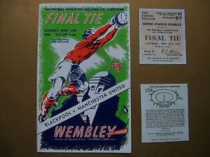 1948-FA-Cup-final-programme-Ticket-Manchester-United-v-Blackpool-Mint-con