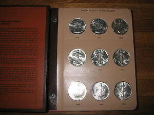 29 COIN COMPLETE SET SILVER AMERICAN EAGLE S IN DANSCO UNITED STATES DOLLARS