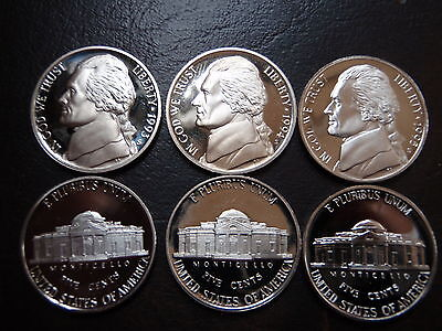 1 LOT OF 3 JEFFERSON  CAMEO PROOF   NICKELS 1993,1994,1995  GEMS !!! !