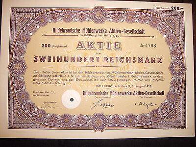 Hildebrandsche Mühlenwerke 200RM  Böllberg 1929 historisches Wertpapier / Aktie