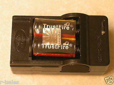 2 Trustfire 16340 Protected Rechargeable Battery + Charger Cr123a 3.7v