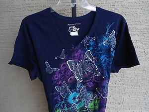NEW-WOMENS-JUST-MY-SIZE-GRAPHIC-TEE-NAVY-WITH-GLITZY-BUTTERFLIES-1X