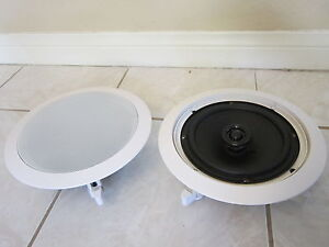 NEW-8-Ceiling-In-wall-Speakers-2-Pair-8-ohm-Flush-mount-Home-Audio-Sound