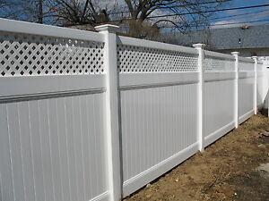 White Pvc Vinyl 16ft Lattice Top Privacy Fence 6 039 X8 039 Complete W Posts Amp Caps