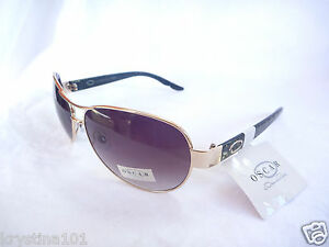 OSCAR DE LA RENTA GOLD TORTOISE BROWN SHADES AVIATORS WOMANS SUNGLASSES NEW