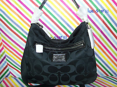 NWT! Coach Poppy Black Signature Hobo Crossbody Tote Shoulder Bag Purse $298.00 on Rummage