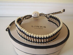 Genuine LINKS OF LONDON  Black and Bronze Friendship Bracelet NEW