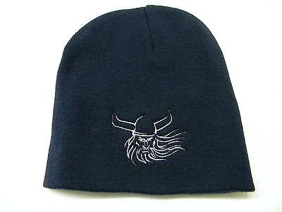 Nordic Norwegian Swedish Danish Viking Scull Embroidered Knit Beanie Hat Kh34