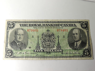 1943 Royal Bank Of Canada   5 Five Dollars 079403 Last Issued 630 20 02