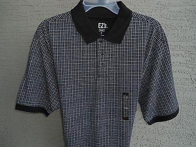 Mens Haggar Ez''s S/s Jersey Knit Polo Shirt Black White Checks S