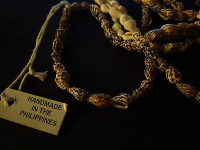 Philippines Shell Necklace No Stone No Metal handmade, Strand/string Cream