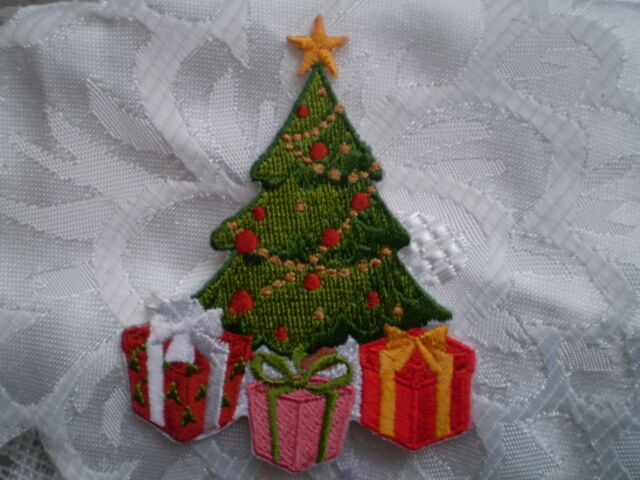 100 embroidery decoration iron on christmas tree patch gift motif sew craft - Iron Christmas Tree