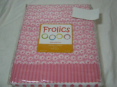 Frolics Kids Collection Pink/white Fabric Shower Curtain Pink Dots & Flowers