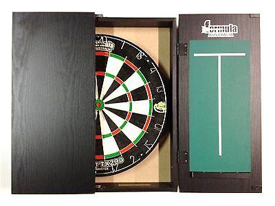 Dart Board Set Black Ash Dart Board Cabinet And Tx290 Dart Board And 6 X Darts.