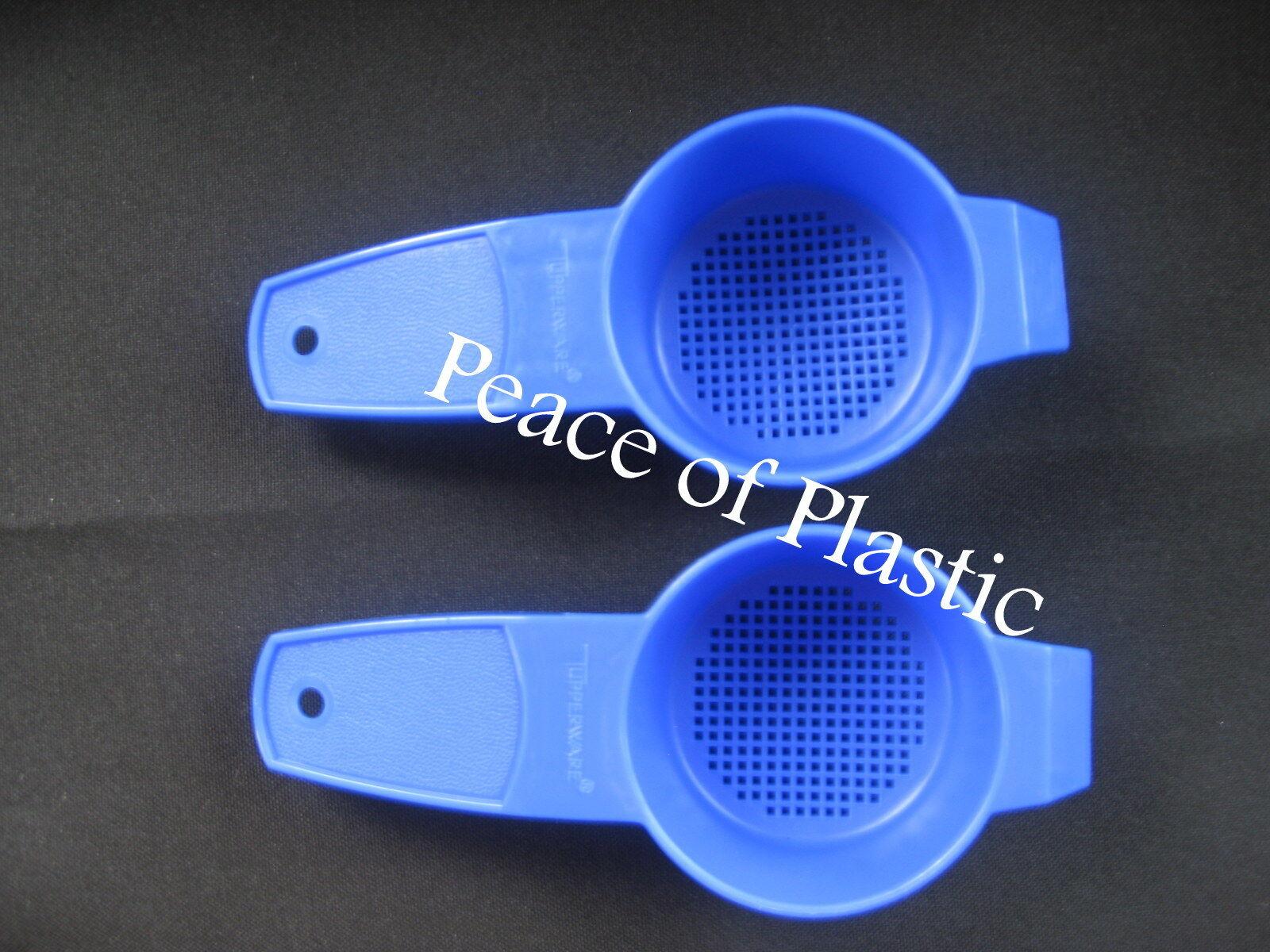 Tupperware Set 2 Blue Mini Strain Strainer, Sift Sifter Tea Bag Sieve Small