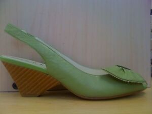 Moda-Spana-Womens-Gina-Green-Leather-Slingback-Wedge-Sandal