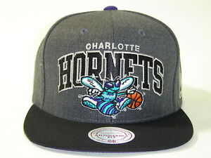 Mitchell and Ness NBA Charlotte Hornets Arch Dark Gray 2 Tone Retro Snapback Cap