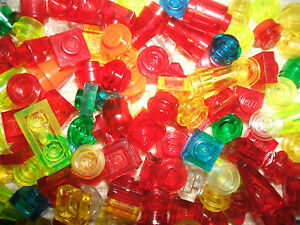 Lego-approx-100-Multi-Coloured-Transparent-1-pin-mini-Bricks-FREE-SHIPPING