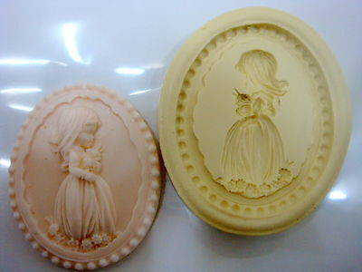 Lovely Girl Emblem, Silicone Mold Chocolate Polymer Clay Jewelry Soap Wax Resin