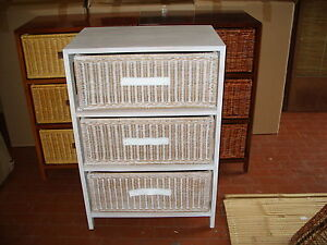 Cassettiera in legno vimini bianca arredo etnico per bagno cucina camera sala ebay - Cassettiera per cucina ikea ...