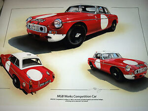 MG-MGB-WORKS-COMPETITION-LE-MANS-1965-PADDY-HOPKIRK-HEDGES-STUNNING-RARE-PRINT