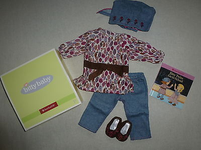 American Girl Bitty Baby Twin Prairie Tunic Outfit With Book No Doll Gift