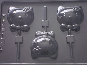 HELLO KITTY CHOCOLATE LOLLIPOP LOLLY MOULD 3 ON 1 CHOCOLATE OR SOAP