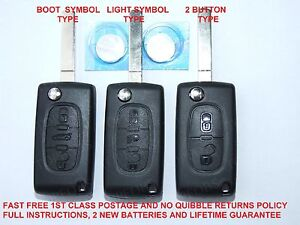 PEUGEOT 407,207,307,EXPERT 2 OR 3 BUTTON NEW KEY FOB LOCKING REMOTE REPAIR CASE