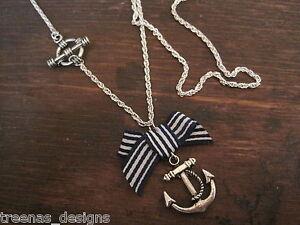 ANCHOR-BOW-SP-Necklace-ROCKABILLY-SAILOR-JERRY-NAUTICAL-Silver-Blue-Stripe