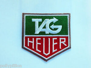 MOTOR RACING RALLY NASCAR SEW/IRON ON PATCH:- HEUER GREEN & RED BLOCK LOGO