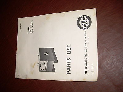 Miller Welder Model Cp 250 Ts Sm Parts Manual