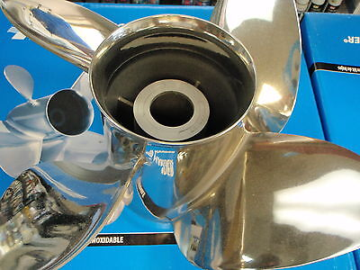 PROPELLER FITS EVINRUDE JOHNSON OUTBOARDS PA14174 HUB-502 4 BLADE PROP STAINLESS