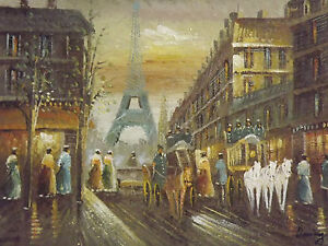 colorful-old-paris-street-large-oil-painting-canvas-cityscape-french-original