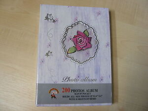 LILAC-CREAM-FLORAL-PHOTO-ALBUM-200-PHOTOS-4x6-SLIP-IN-POCKETS-WITH-MEMO-SLIPS
