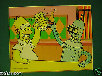 THE SIMPSONS HOMER SIMPSON BENDER FUTURAMA MATTED  CEL CELL ANIMATION ART