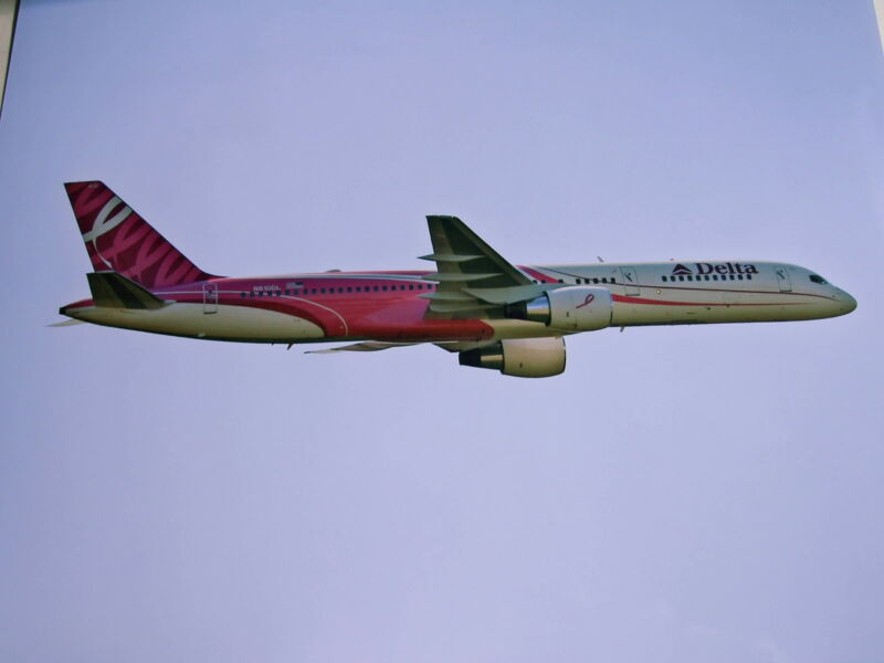 DELTA AIR LINES - 757 BREAST CANCER LIVERY IN FLIGHT - COLOR 8 X 10