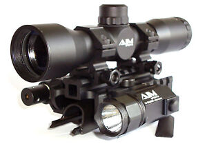 SKS 4X32 Mil Dot Scope with Tactical Red Laser, Flashlight and Tri-rail Mount