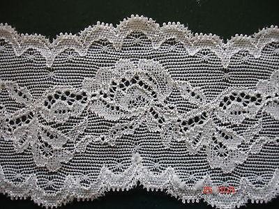 5m breite elastische Spitze 1,00€/m natur Blumenmotiv MB40 7cm breit