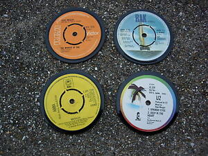 VINTAGE 1980`S RANDOM COASTERS FROM ORIGINAL 1980`S 7 INCH RECORDS (FREE POST!!)