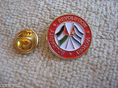 "Palestine & Cuba ""Revolution Solidarity Victory"" Lapel Pin/Badge Cuba Arab"