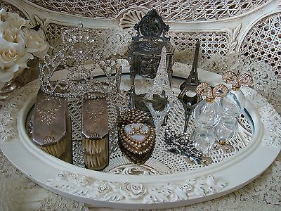 EXQUISITE SHABBY ROSES PLATEAU MIRROR TRAY VANITY SWAGS & GARLANDS **FABULOUS**