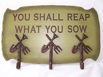 Rustic You Shall Reap What You Sow Wood Wall Rack With 3 Garden Tool Hooks