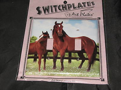 Art Switchplates Brown Horses Double Toggle Electricity Hand Crafted Ranch