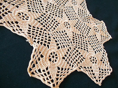 "Unusual 6 point Star Doily Salmon Color hand crochet 7 x 8 """